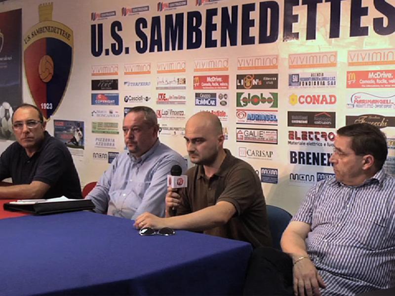 Il vicepresidente della Samb Claudio Bartolomei, Leo David della Dalbe Energy Saving, Carlo Bocci della Bocci costruzioni, il tesoriere della Samb Roberto Pignotti