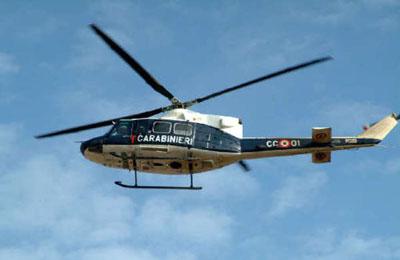 Un elicottero dei Carabinieri (foto d'archivio)