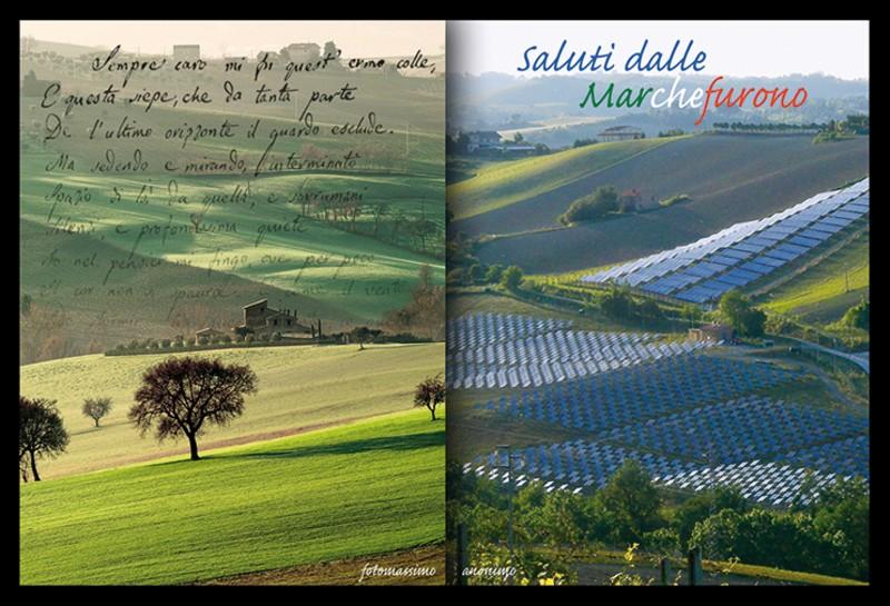 Un suggestivo (inquietante?) fotomontaggio sulle ventilate conseguenze di un esagerato crescere dei campi fotovoltaici nelle splendide campagne picene
