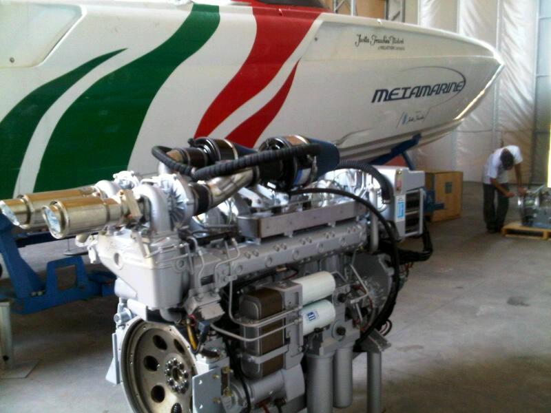 I motori Isotta Fraschini che verranno provati in mare dalla test boat Metamarine
