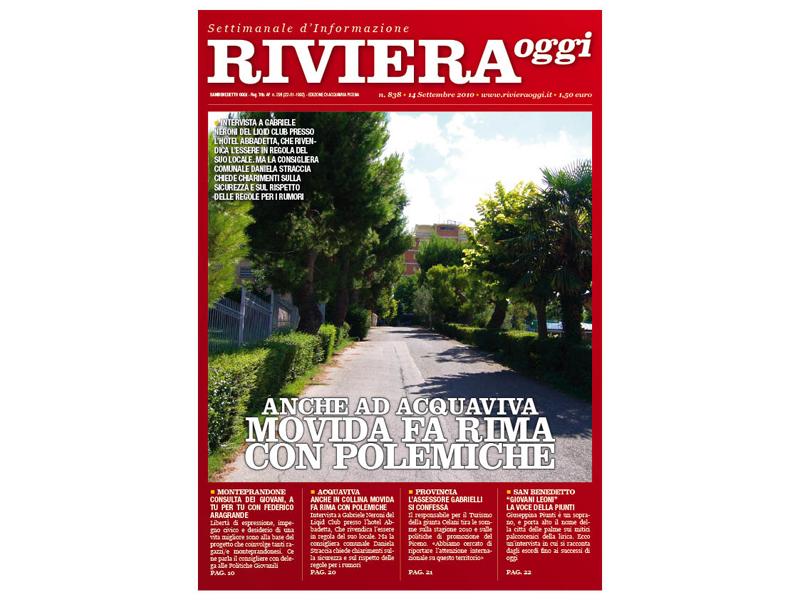 Riviera Oggi numero 838: la copertina per le edicole di Acquaviva Picena
