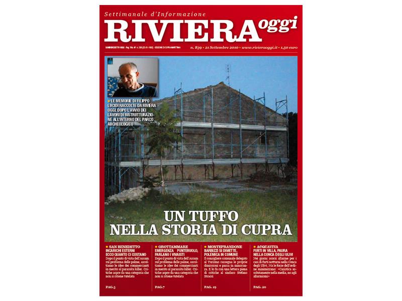 Riviera Oggi 839, la copertina per le edicole di Cupra Marittima