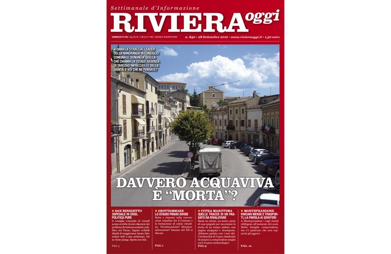 La copertina di Riviera Oggi numero 840 per Acquaviva