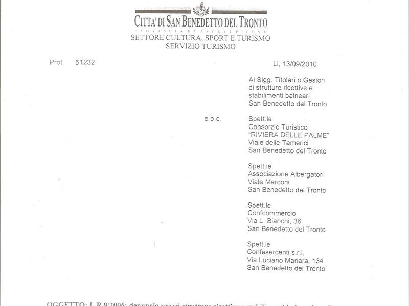 Tariffe balneari 2011: nella comunicazione del Comune manca l'Itb