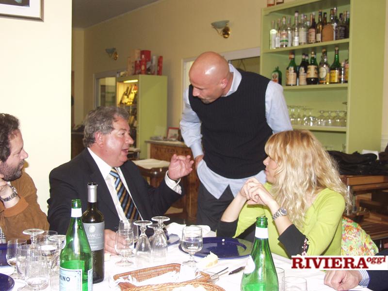 Aprile 2002, ristorante Il Gambero: Gaucci, Colantuono, Elisabetta Tulliani