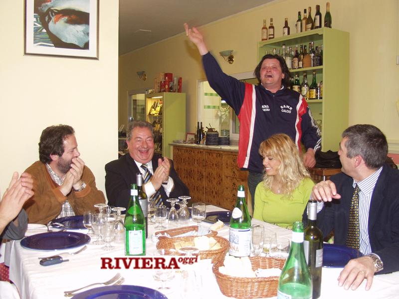 Aprile 2002, ristorante Il Gambero: il sindaco Martinelli, Gaucci, Scintilla, Tulliani, il d.s. Angellozzi