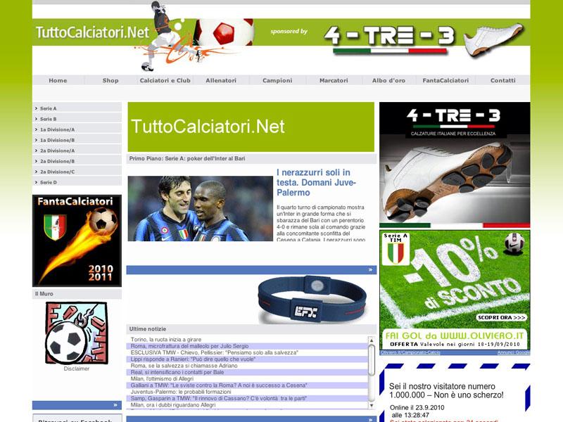 La homepage di Tuttocalciatori.net