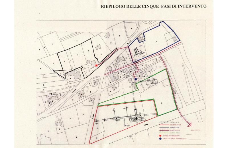 Le cinque fasi di intervento del progetto sul Parco archeologico.
