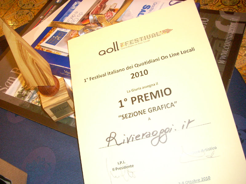 Qoll, il riconoscimento assegnato a Rivieraoggi.it nella prima edizione