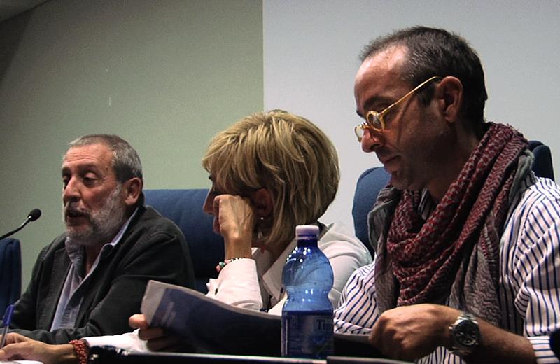 Francesco La Licata, Sandra Amurri e Massimo Ciancimino nella presentazione del libro Don Vito all'auditorium comunale di San Benedetto