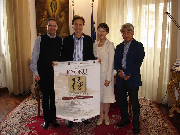 L'assessore Brugni (a sinistra) con i delegati giapponesi