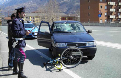 Incidente bici-auto  (foto Google)
