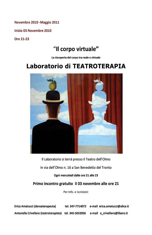 La locandina del Laboratorio di Teatroterapia che prenderà avvio mercoledì 3 novembre 2010, presso il Teatro dell'Olmo