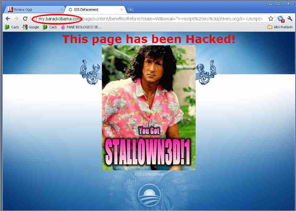 Vulnerabilità del sito di Barack Obama