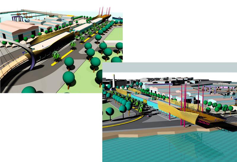 Nei disegni al computer forniti dal Comune, ecco alcune progettualità possibili per il porto di San Benedetto