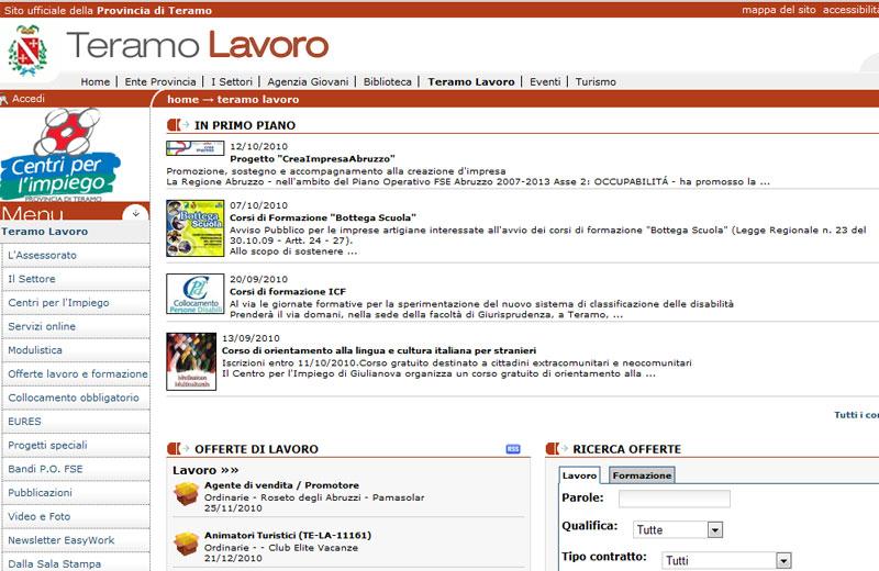 La home page di www.teramolavoro.it