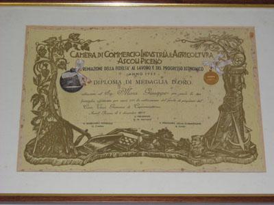 Il riconoscimento della Camera di Commercio alla famiglia Mora