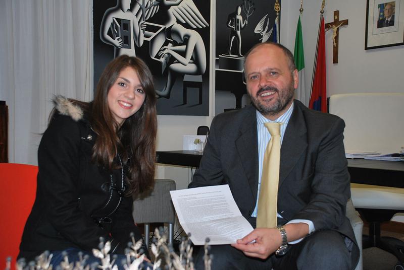 Giulia Vecchioni dal sindaco Gaspari