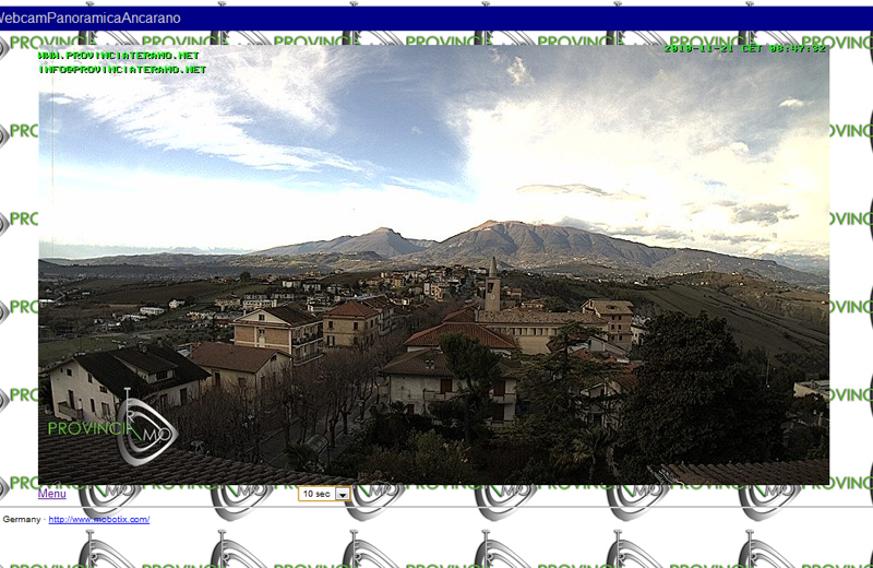 Ancarano vista dalla webcam installata sul tetto del Municipio