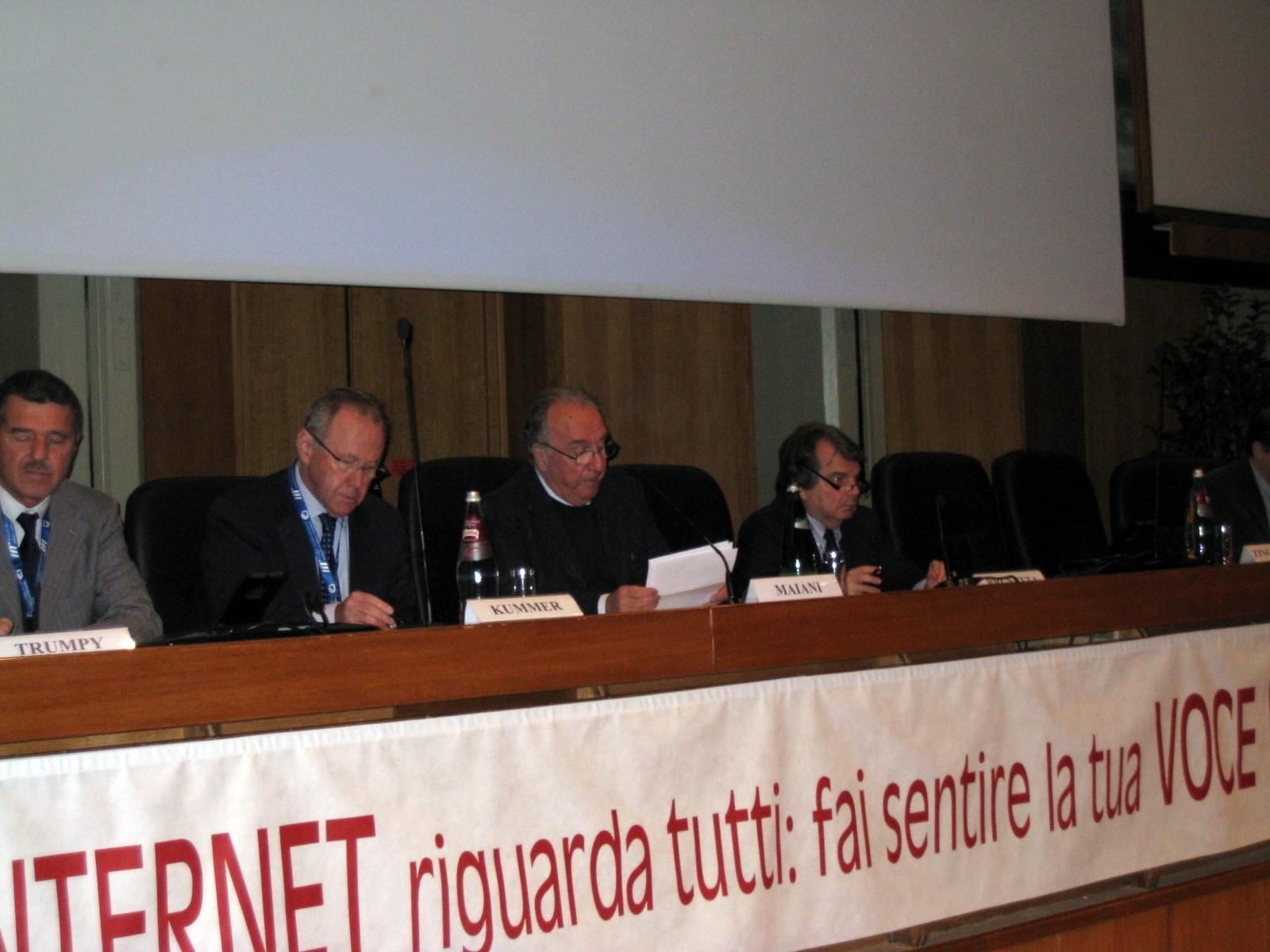 Igf Italia 2010, da sx Stefano Trumpy, Markus Kummer, Luciano Maiani, Renato Brunetta