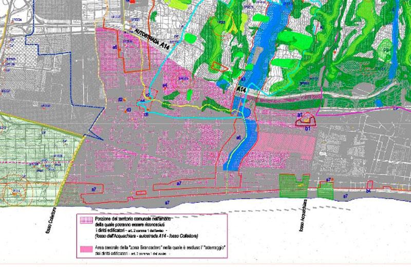 In rosa, l'area in cui è possibile edificare sulla base della Megavariante. Preservata però l'area centrale Brancadoro