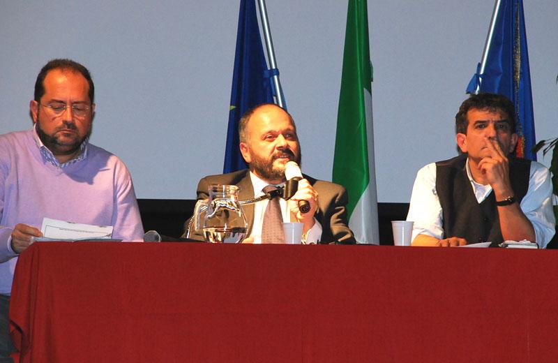 Megavariante al Concordia: il dirigente Polidori, il sindaco Gaspari, il giornalista del Corriere Adriatico Sgambetterra, 24 novembre 2010