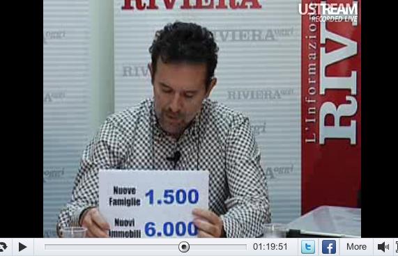 YouRiviera: Riego Gambini mentre legge alcuni dati sulla demografia e l'urbanistica a San Benedetto