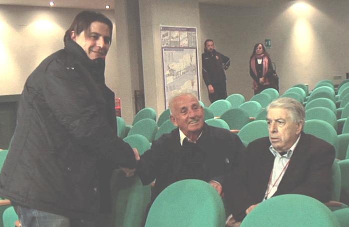 Sergio Spina insieme a due grandi dirigenti del passato