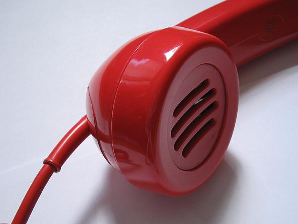 La cornetta di un telefono