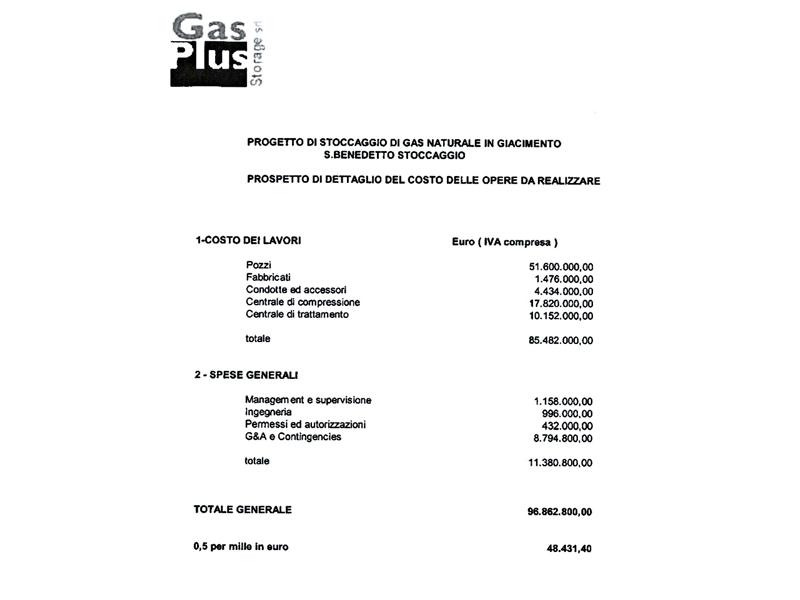 Gas Plus, il piano economico delle opere da realizzare per il deposito di stoccaggio di gas