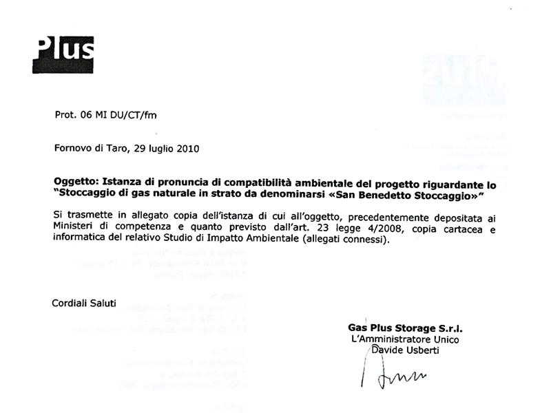Gas Plus, la lettera a Comune, Provincia, Arpam e Autorità di bacino (luglio 2010, seconda parte)