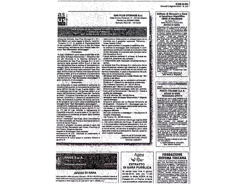 Giovedì 5 agosto 2010, l'avviso al pubblico di Gas Plus per la procedura di valutazione di impatto ambientale
