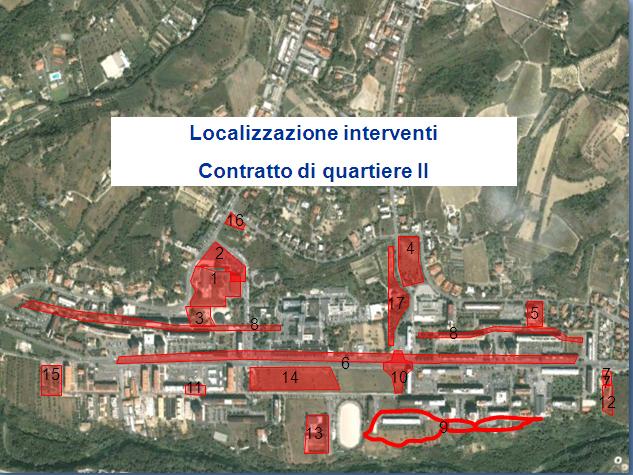 Le zone interessate dal Contratto di Quartiere II