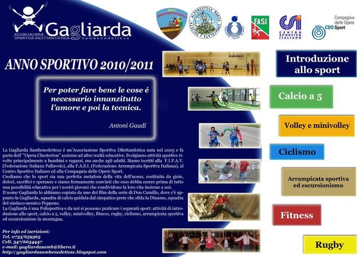 Locandina delle attività della Polisportiva Gagliarda Sambenedettese 2010-2011