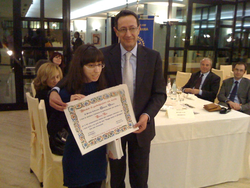 Premio Olivieri 2010. La più piccola finalista,Valeria Nisi con Pasqualino Piunti