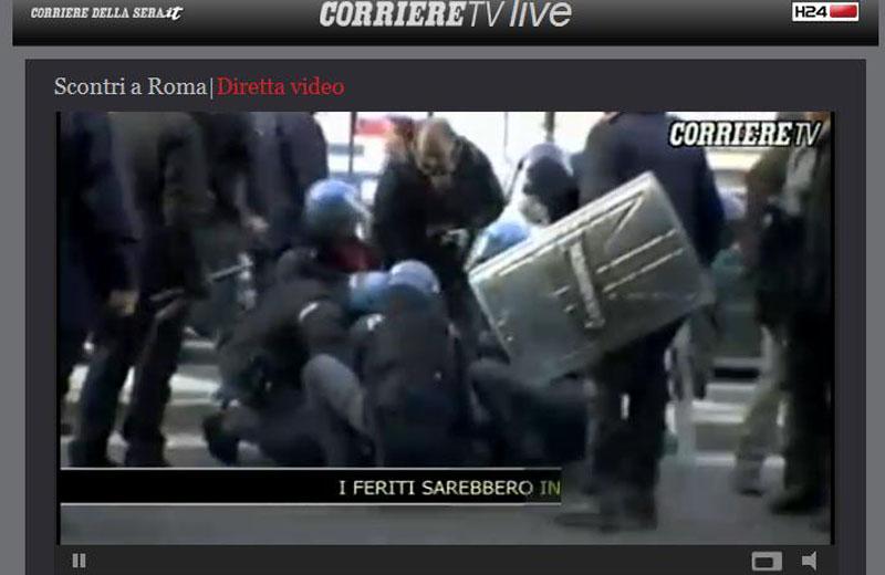 Scontri a Roma, 20 feriti (CorriereTv live), 14 dicembre 2010