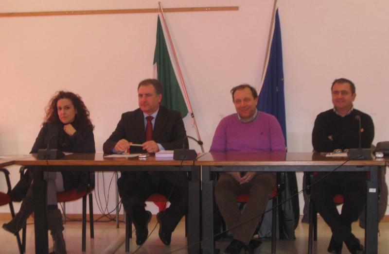 Da sinistra il consigliere Maria Giuseppina Ballatori, il sindaco Angelo Canala, gli assessori Duilio Ortenzi e Benito Erbuto