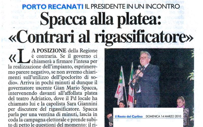 Il Carlino del 14 marzo 2010: Spacca a Recanati promette