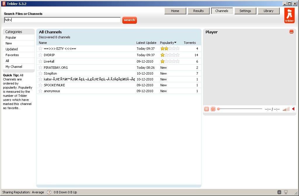 Tribler 5.3.2, schermata