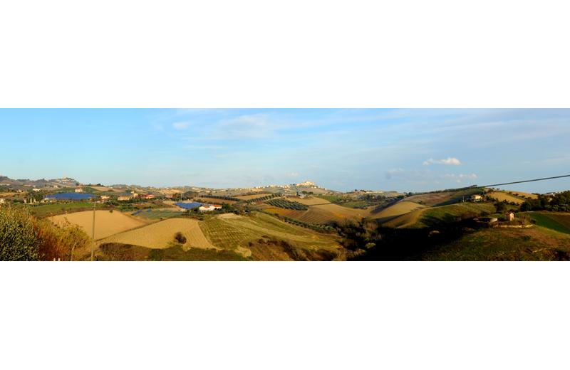 visuale dei campi fotovoltaici dalla strada provinciale che da Monsampolo conduce alla contrada Forola di Acquaviva Picena