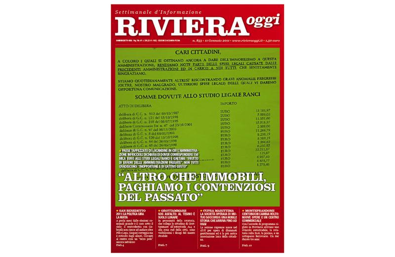 Riviera Oggi numero 853, la copertina per le edicole di Acquaviva