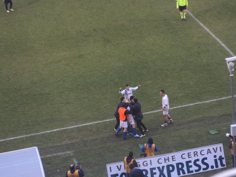 Samb-Fossombrone, la gioia dopo il gol vittoria
