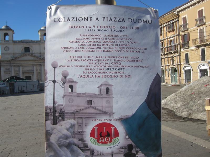 L'Aquila. Manifesto per la Merenda in Piazza Duomo