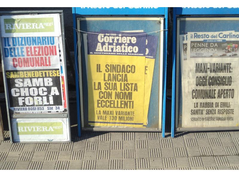La locandina odierna del Corriere Adriatico
