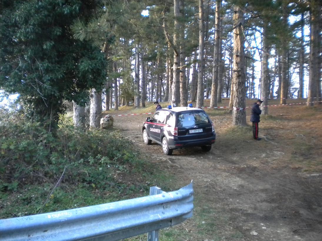 La zona dove è stato trovato il cadaere di Rossella Goffo, messa sotto sequestro dai Carabinieri