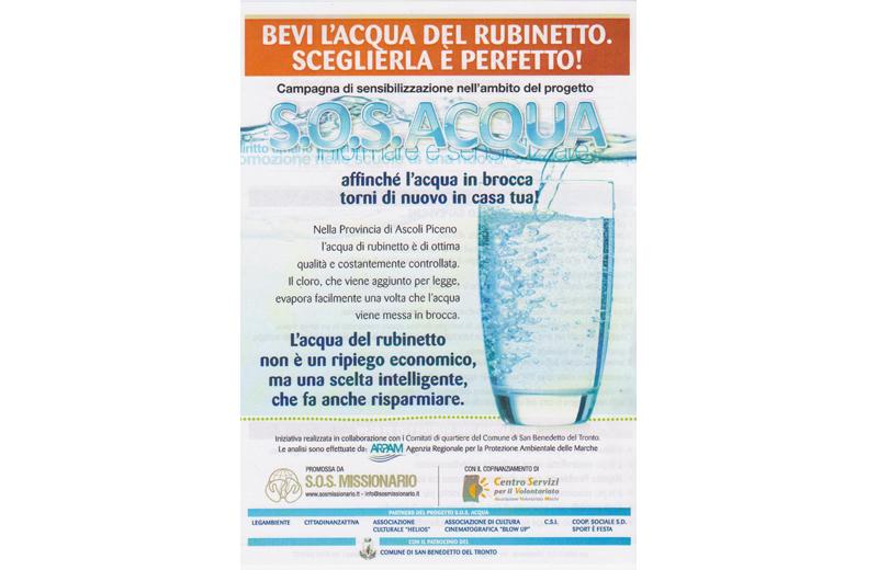 La campagna Sos Acqua per incentivare il consumo di acqua del rubinetto