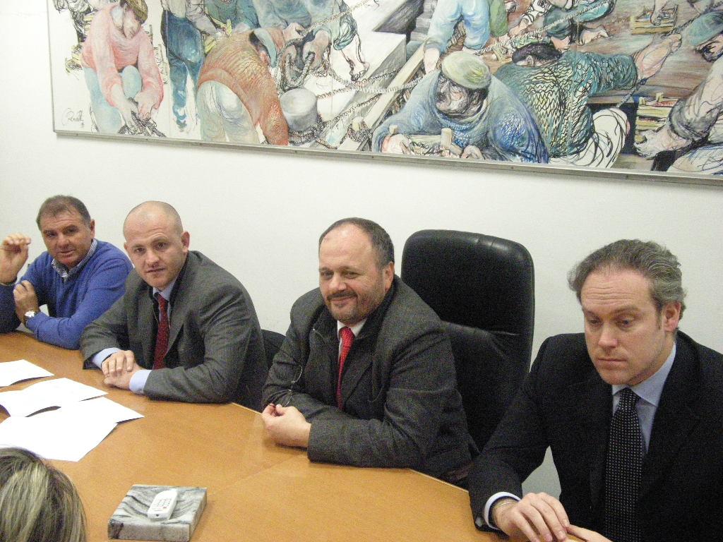 Il sindaco Gaspari con Di Francesco, Cardilli e Mandozzi