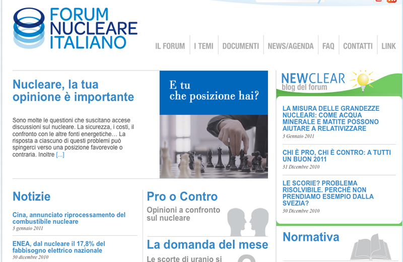 L'home page del Forum Nucleare Italiano