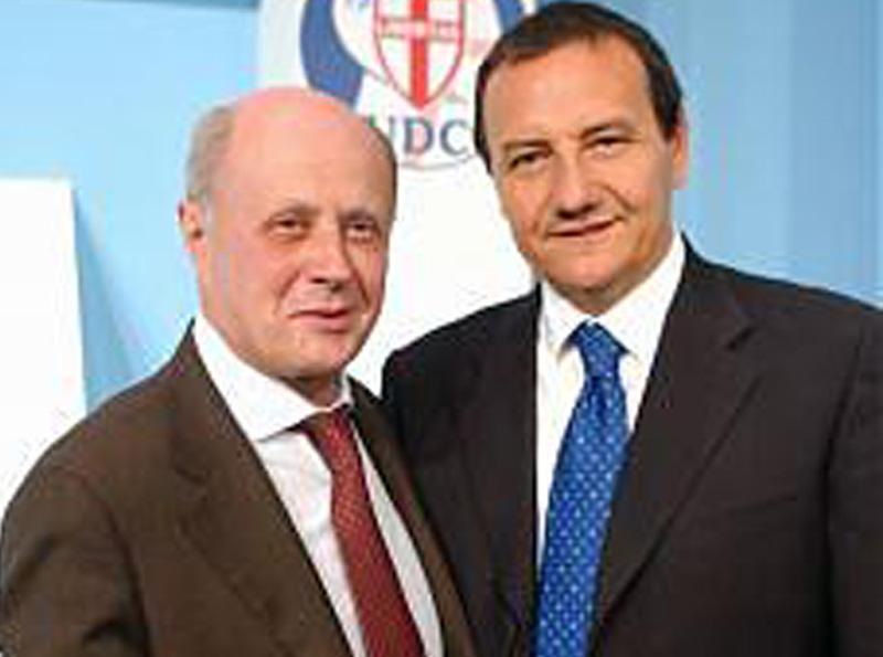 Mario Baccini e Bruno Tabacci, fondatori della Rosa Bianca