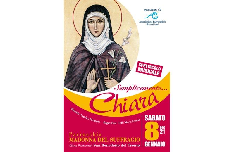 La locandina del recital su Santa Chiara